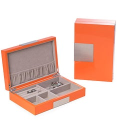 Personalized Orange Lacquered Wooden Valet