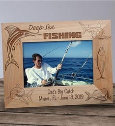 Engraved Fishing Wood Picture Frame