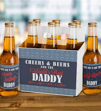Personalized Cheers & Beers Labels and Carrier Set