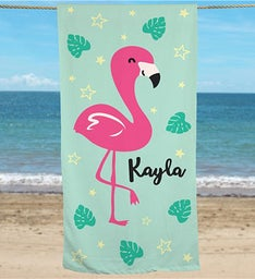 Personalized Flamingo Beach Towel