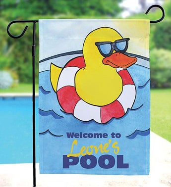 Cool Duck Swimming Pool Personalized Garden Flag
