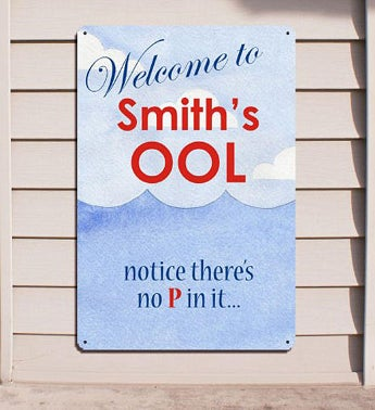 Pool Welcome Personalized Wall Sign