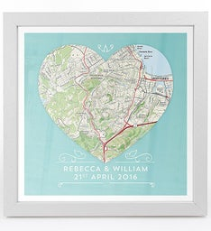 Personalized Framed Heart Map