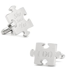 Wedding Puzzle Pieces Cufflinks Pair