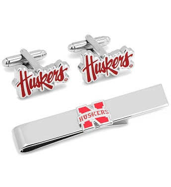 Nebraska Cornhuskers Cufflinks & Tie Bar Gift Set