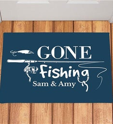 Personalized Gone Fishing Doormat