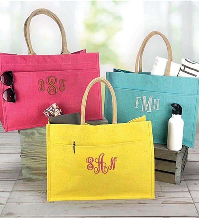 Monogrammed Pocket Tote Bag