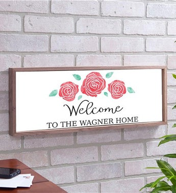 Personalized Watercolor Roses Framed Wall Sign