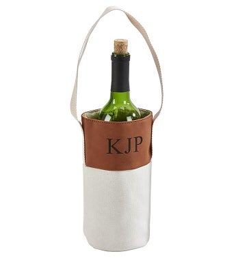 Personalized Leatherette/Canvas Wine Tote