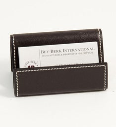 Personalized Brown Leather Business Card Holder