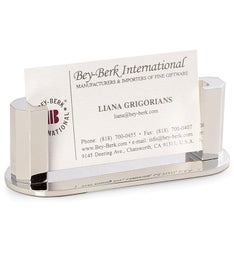 Personalized Silver Plated Business Card Holder