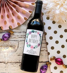 Personalized Peony Wreath Birthday Labeled Wine