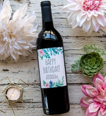 Personalized Happy Birthday Flower Labeled Wine