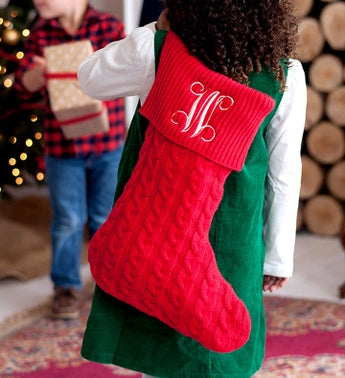 Personalized Red Cable Knit Stocking