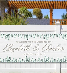 Personalized Eucalyptus Wedding Banner