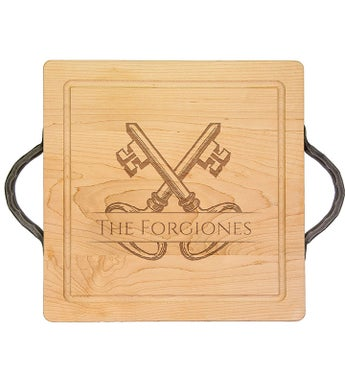"Personalized 14x14"" Cutting Board with Handle"