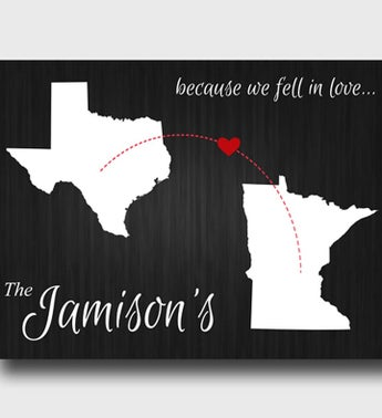 Personalized Because We Fell In Love State Canvas