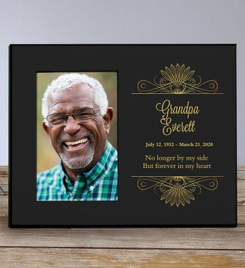 Personalized Memorial Black and Gold Frame