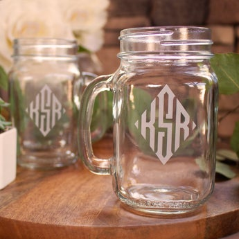 Personalized Diamond Monogram Mason Jar Mug