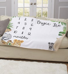 Personalized Animals Baby Milestone Blanket