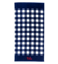 Personalized Navy Check Towel