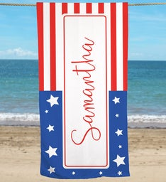 Personalized Patriotic Flag With Name Beach Towel