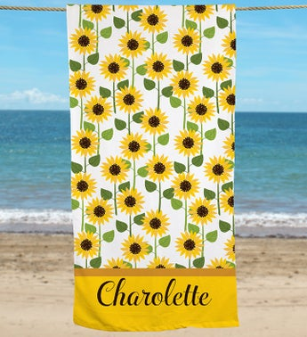 Personalized Sunflowers Beach Towel