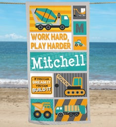 Personalized Work Hard Play Harder Beach Towel