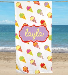 Personalized Ice Cream Beach Towel