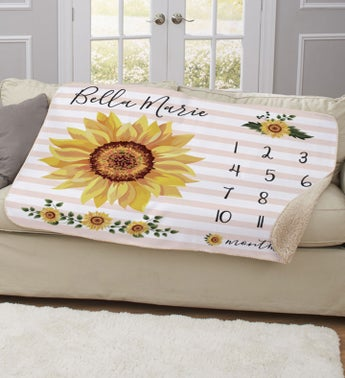 Personalized Sunflower Baby Sherpa Blanket