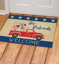 Personalized Patriotic Welcome Truck Doormat