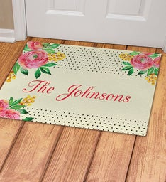 Personalized Watercolor Floral Doormat