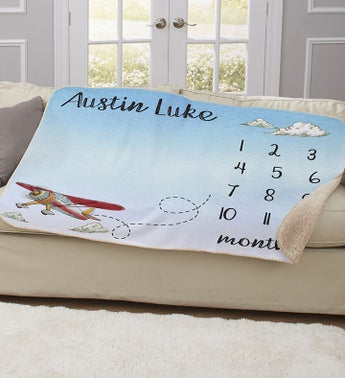 Personalized Airplane Baby Sherpa Blanket