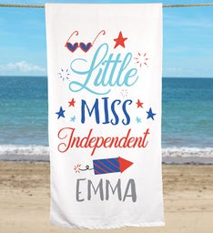 Personalized Little Miss Independent Beach Towel