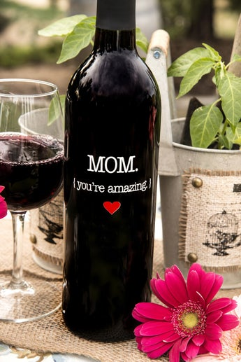 Mom (You're Amazing) Wine Bottle