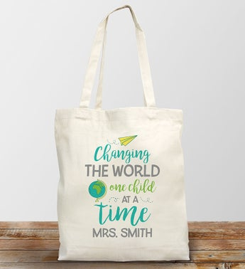 Personalized Changing The World Tote Bag
