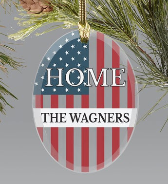 Personalized Patriotic Home Oval Ornament