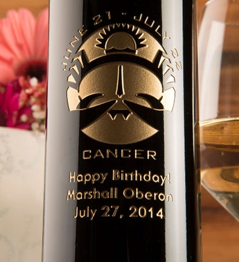 Cancer Birthday Personalized Wine Bottle