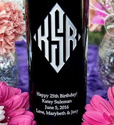 Diamond Monogram Personalized Wine Bottle