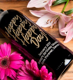 Happy Happy Happy Day Personalized Wine Bottle