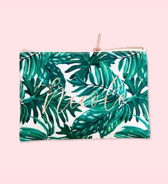 Personalized Palm Leaf Cosmetic Bag
