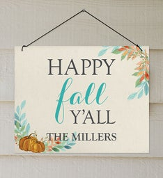 Personalized Happy Fall YAll Wall Sign