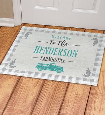 Custom Welcome To The Farmhouse Gingham Doormat