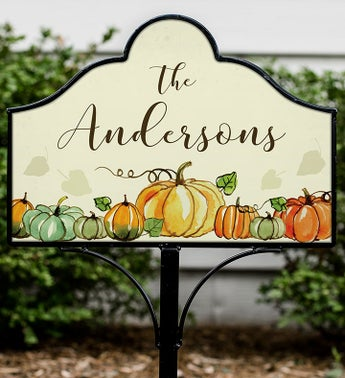 Personalized Fall Pumpkin Magnetic Yard Sign