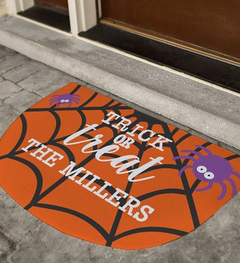 Personalized Half Round Trick Or Treat Doormat