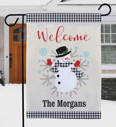 Personalized Welcome Gingham Snowman Flag