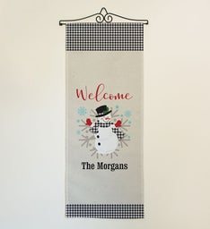Personalized Welcome Gingham Snowman Wall Art