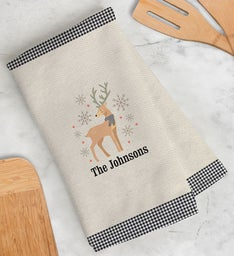 Personalized Gingham Reindeer Kitchen Towel