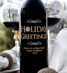 Personalized Holiday Greetings Wine Bottle