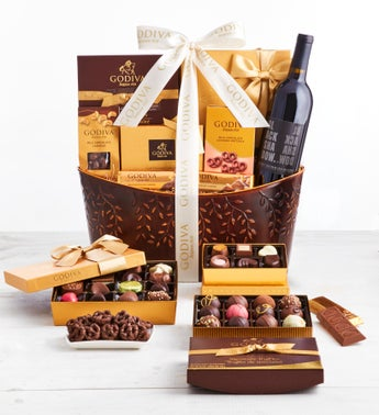 Exclusive Godiva Supreme Chocolates  Wine Basket
